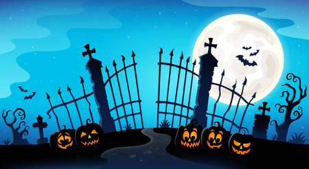 Cemetery gate silhouette theme 8 - eps10 vector illustration.