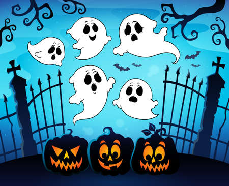Halloween image with ghosts theme 8 - eps10 vector illustration.