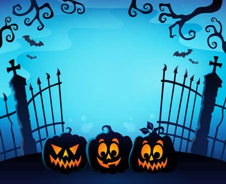 Cemetery gate silhouette topic 1 - eps10 vector illustration. Illustration