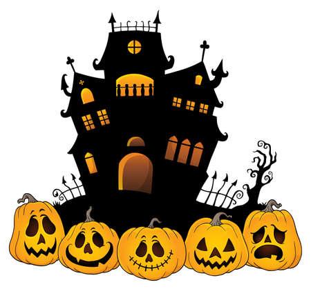 Halloween house silhouette theme 4 - eps10 vector illustration.