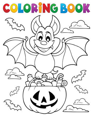 Coloring book Halloween bat theme 1 - eps10 vector illustration. Çizim