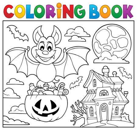 Coloring book Halloween bat theme 2 - eps10 vector illustration. Illustration