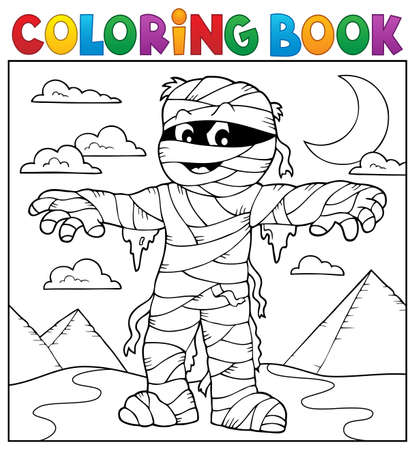 Coloring book mummy theme 2 - eps10 vector illustration.