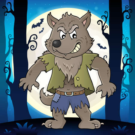 Werewolf topic image 2 - eps10 vector illustration.