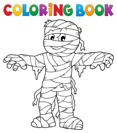 Coloring book mummy theme 1 - eps10 vector illustration. Illustration