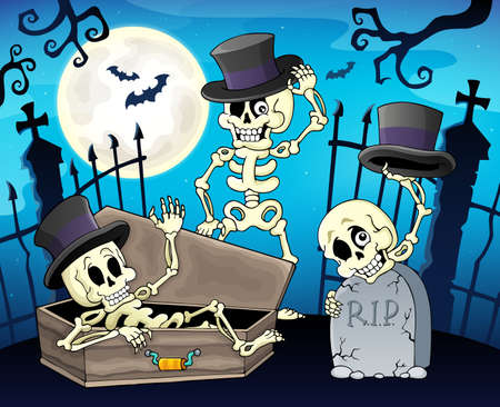 Skeletons near cemetery gate - eps10 vector illustration.