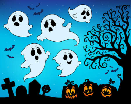 Halloween image with ghosts theme 9 - eps10 vector illustration. Illustration