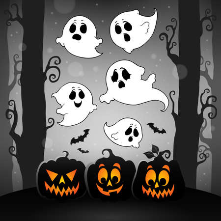Halloween image with ghosts theme 4 - eps10 vector illustration. Illustration