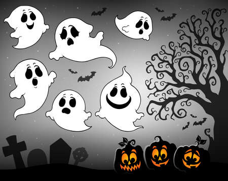 Halloween image with ghosts theme 3 - eps10 vector illustration.