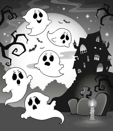 Ghosts near haunted house theme 7 - eps10 vector illustration.