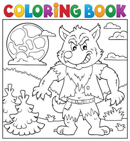 Libro para colorear hombre lobo tema 2 - ilustración vectorial eps10.