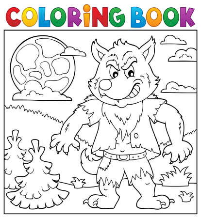 Coloring book werewolf topic 2 - eps10 vector illustration. Illustration