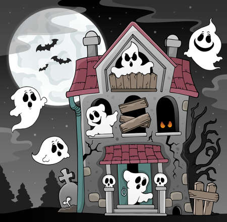 Haunted house with ghosts theme 4 - eps10 vector illustration.