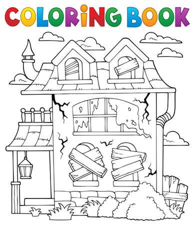 Coloring book derelict house theme 1 - eps10 vector illustration. Ilustração