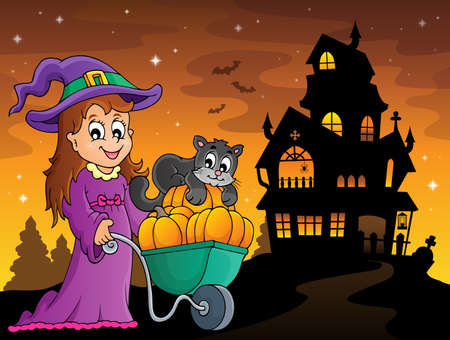Cute witch and cat Halloween image 3 - eps10 vector illustration.