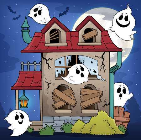 Derelict house and ghosts theme 1 - eps10 vector illustration. Ilustração