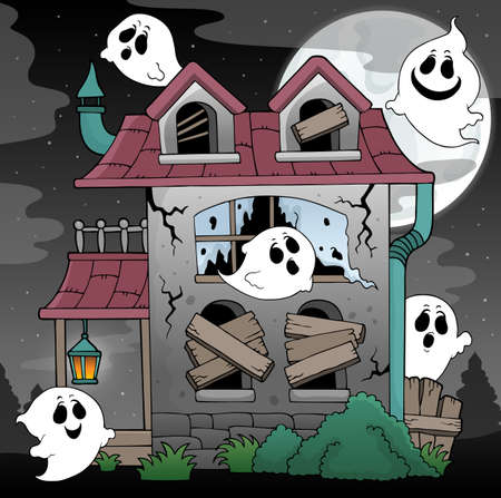 Derelict house and ghosts theme 2 - eps10 vector illustration. Ilustração