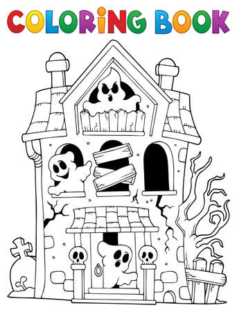 Coloring book haunted house with ghosts - eps10 vector illustration. Illustration