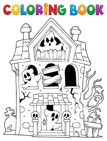 Livre de coloriage maison hantée avec des fantômes - illustration vectorielle eps10.