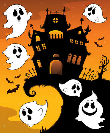 Halloween house silhouette and ghosts 1 - eps10 vector illustration. Illustration