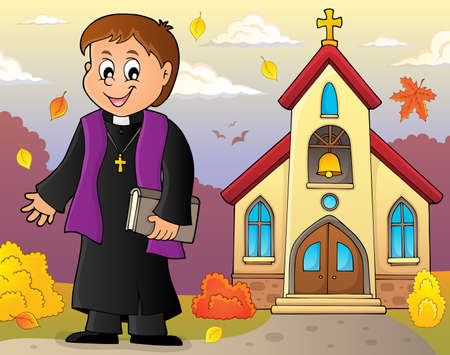 Young priest topic image 4 - eps10 vector illustration.