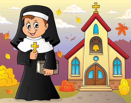 Happy nun topic image 3 - eps10 vector illustration. Illustration