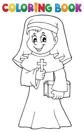 Coloring book happy nun topic 1 - eps10 vector illustration.