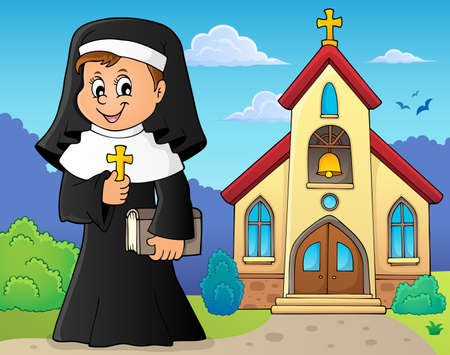 Happy nun topic image 2 - eps10 vector illustration. 向量圖像