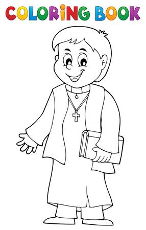 Coloring book young priest topic 1 - eps10 vector illustration. Illustration