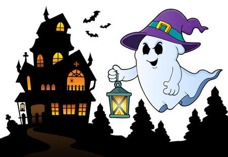 Ghost with hat and lantern topic 3 - eps10 vector illustration. Illustration
