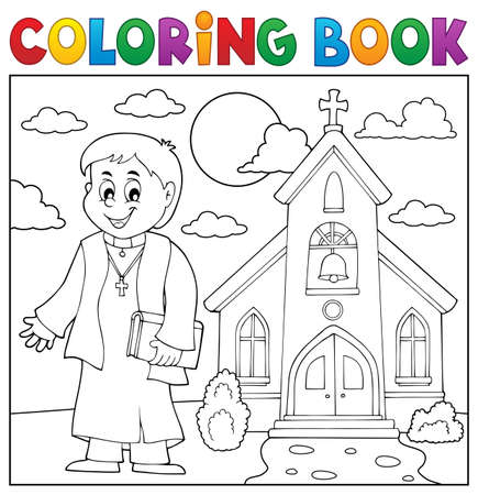 Coloring book young priest topic 3 - eps10 vector illustration.