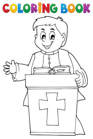 Coloring book young priest topic 2 - eps10 vector illustration.