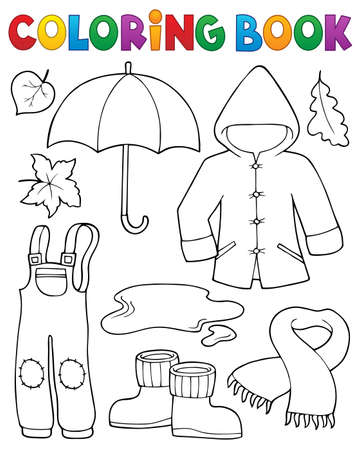 Coloring book autumn objects set 1 - eps10 vector illustration. Illustration