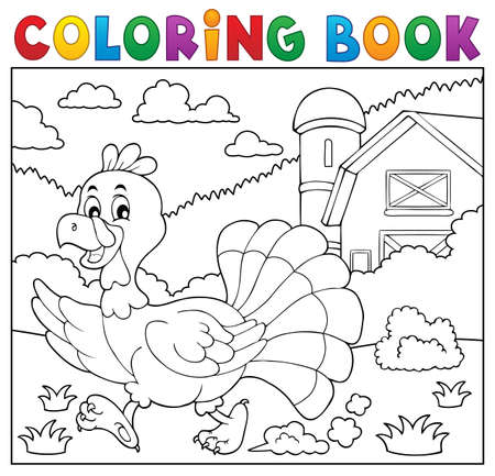 Coloring book running turkey bird 2 - eps10 vector illustration. Vettoriali