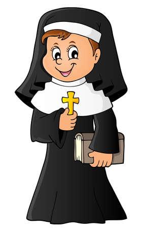Glückliche Nonne Thema Bild 1 - eps10-Vektor-Illustration.