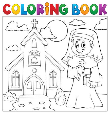 Coloring book happy nun topic 2 - eps10 vector illustration. Illustration