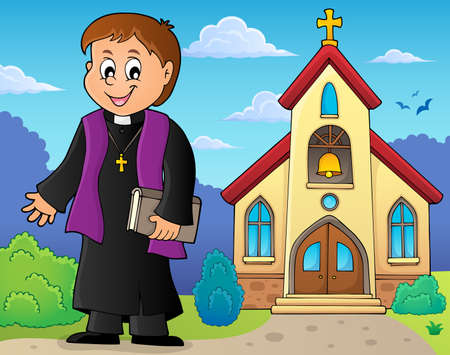 Young priest topic image 3 - eps10 vector illustration. Иллюстрация