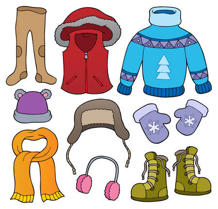 Winter clothes topic set 2 - eps10 vector illustration. Illustration