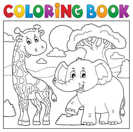 Coloring book African nature Illustration