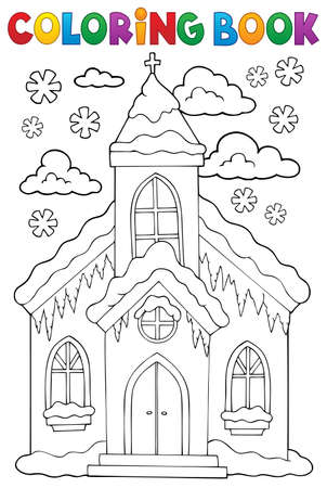 Coloring book winter church building Illustration