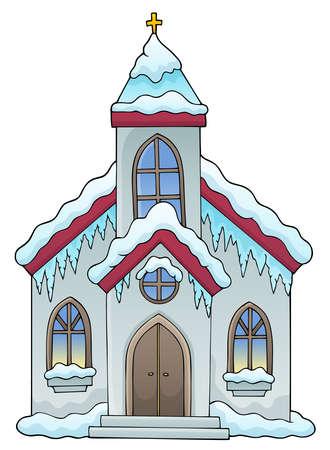 Winter church building 일러스트