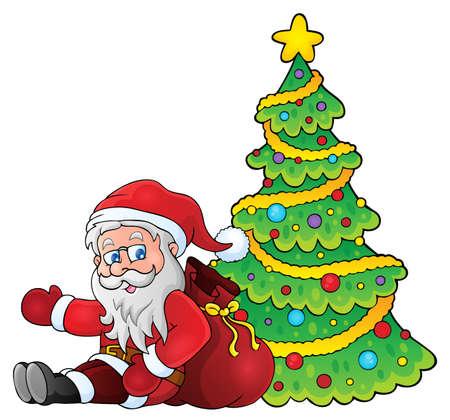 Santa Claus by Christmas tree theme 1 - eps10 vector illustration.