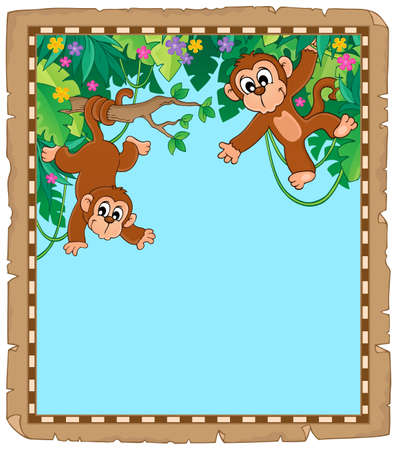 Parchment with two monkeys - eps10 vector illustration. Stock Illustratie