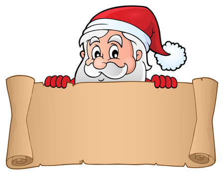 Lurking Santa Claus holding parchment 3 - eps10 vector illustration.