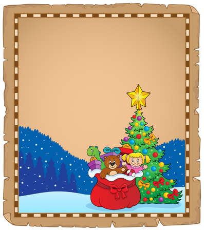 Christmas tree and gift bag parchment 1 - eps10 vector illustration.