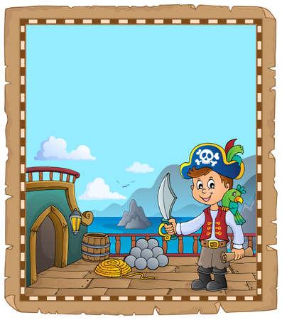 Pirate ship deck topic parchment 2 - eps10 vector illustration.