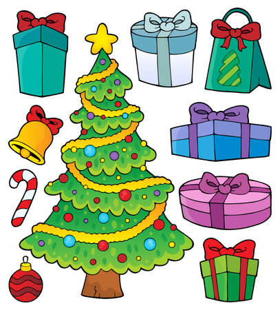 Christmas tree and gifts topic set 1 - eps10 vector illustration.