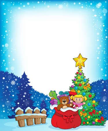Christmas tree and gift bag frame 1 - eps10 vector illustration. Vettoriali