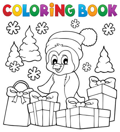 Coloring book Christmas penguin topic 3 - eps10 vector illustration.