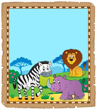 Parchment with African animals 6 - eps10 vector illustration. Stock Illustratie